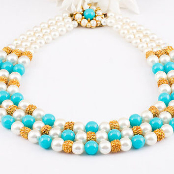 Special - Free Shipping -  Vintage 1980s Turquoise Gold White Multi Strand Statement Pearl Necklace With Floral Closure