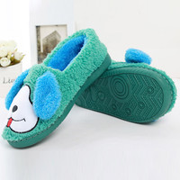 Grass Green Dog Fuzzy Slippers