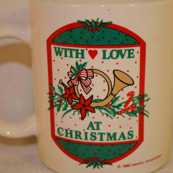 Christmas Mug Vintage With Love at Christmas Cup Red & Green Coffee Cup Christmas Hot Chocolate Christmas Gift Secret Santa Gift