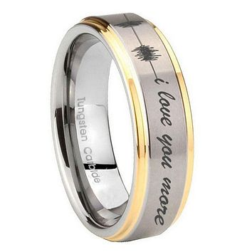 10MM Step Edges Sound Wave i love you more more 14K Gold IP Tungsten Two Tone Men's Ring
