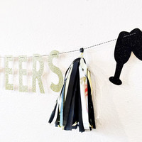 Cheers Banner - Tassel Banner - Kate Spade Party - New Years Party Decorations - Bridal Shower Banner -Wedding Decorations - birthday decor