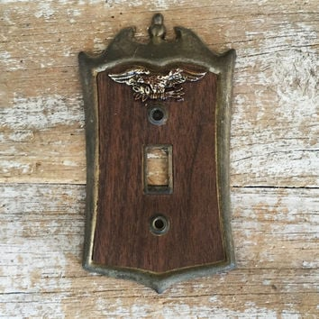 Light Switch Cover Lightswitch Plate Faux Wood and Eagle Light Switch Cover Hollywood Regency Brass Outlet Cover Home Improvement Supplies