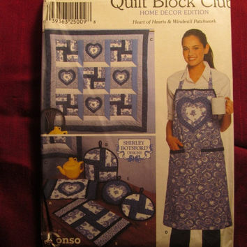 SALE Uncut 2001 Simplicity Sewing Pattern, 9783! Quilt Block Club/Home Decor/Heart of Hearts/Windmill Patchwork/Aprons/Place mat/Quilts/Tea