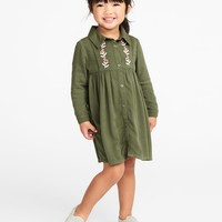 Embroidered Twill Shirt Dress for Toddler Girls |old-navy