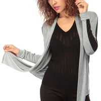 Grey Open Front Cardigan