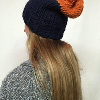 Knit Slouchy Hat Beanie Chicago Bears Colors Orange And Navy Color Block Warm And Cozy