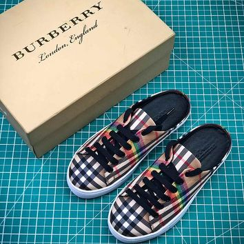 18SS Burberry Rainbow Vintage Check Classic Leisure Sandals - Best Online Sale
