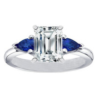 Engagement Ring - Emerald Cut Diamond Engagement Ring with Pear Shape Blue Sapphires - ES136BSECWG