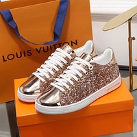 LV Louis Vuitton Popular Women Casual Shiny Sequins Flats Sport Shoes Sneakers Rose Golden I-ALS-XZ