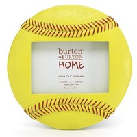 Optic Yellow Resin Softball Shaped Hand Painted Picture Frame