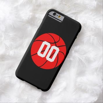 Red Basketball Sports Jersey Number Custom Phone Barely There iPhone 6 Case