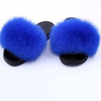 Women Fashion Fox Fur Sandal Shoes Flat Slides Indoor Outerdoor Rubber Slippers