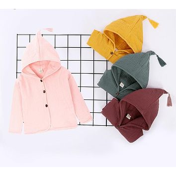 Baby Coat Jacket For Girls Cotton Tassel Hooded Boys Full Sleeve Toddler Outerwear Thin Children Summer Outwear