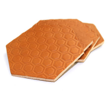 Hexagon Leather Coasters - Tan