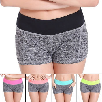 New Women Sport Shorts Fitness Running Short Pants Outdoor Workout Elastic Summer Sports Female Shorts = 1705607236