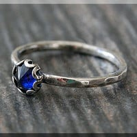 Sapphire Ring, READY TO SHIP, Size 6.5, September Birthstone Ring, Mini Inverted gemstone ring, Sterling Silver Ring, Sapphire Stacking Ring