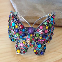 Butterfly Cuff in Multi-Color Crystals and Beads