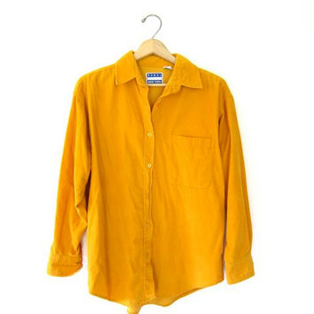 vintage corduroy shirt. 90s yellow orange pocket shirt. cotton Rebel preppy boyfriend shirt. loose fit tomboy button up shirt. Small