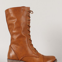 Merride-1 Military Lace Up Mid Calf Boot