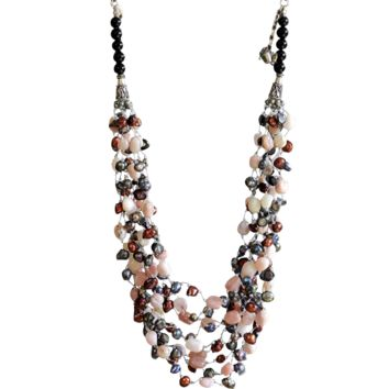 Pink Opal Necklace with blister cultured Freshwater Pearls