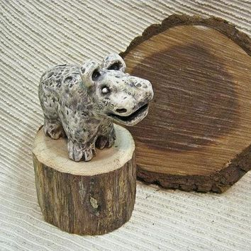 Unisex Gift : Clay Ocarina Animal Flute / Sculpture / Whimsical Animal - OOAK Clay Hippo Ocarina in Soft Grey