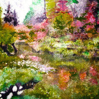Landscape  giclee print from original watercolor batik painting on Japanese rice paper Japanese garden choose size