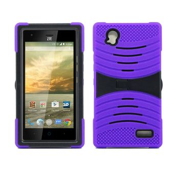 ZTE Warp Elite / N9518 Hybrid Silicone Case Cover Stand Purple