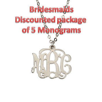 Bridesmaids Package of 5 Discounted Small Silver Monogram Necklace 20% off
