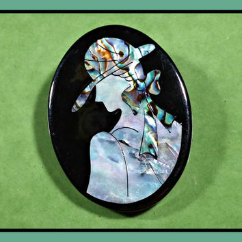Vintage Brooch Black with Abalone Shell Mother of Pearl Inlay Silhouette of Back and Side of Woman Wearing a Hat and Bow Lovely Retro Mod