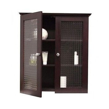 Medicine Cabinet Bathroom Tempered Glass Doors Storage Shelves Cupboard Linen