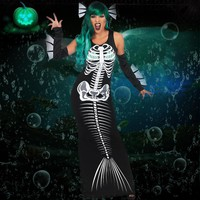 Skeleton Mermaid Dress with Gloves and Headpiece