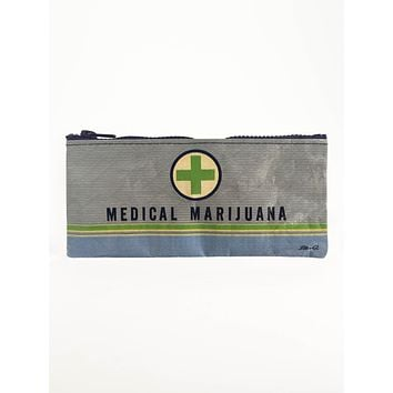 Medical Marijuana Pencil Case in Grey and Blue