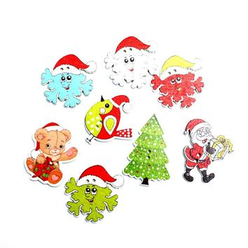 50pcs Mixed Christmas Wooden Buttons For Clothes Needlework Scrapbooking Crafts Diy Sewing Accessories Wood Decoration