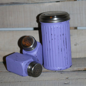 Purple Painted Salt & Pepper Shakers With Matching Sugar Dispenser Painted Shaker Set Vintage Style Shakers Glass Shabby Shakers Upcycled