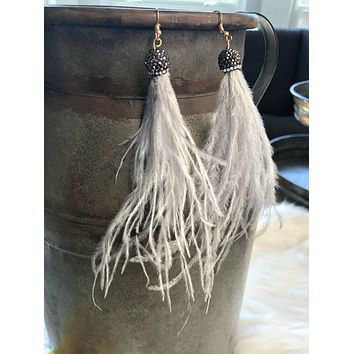 Second Wind Feather Earrings: Mist