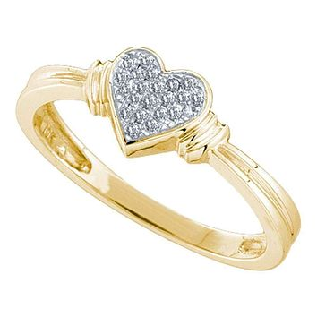 10kt Yellow Gold Women's Round Diamond Simple Heart Cluster Ring 1/12 Cttw - FREE Shipping (US/CAN)