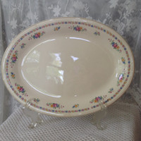 Oval Porcelain Platter, Cottage Rose Floral, Pink, Yellow, Blue Garland Pattern, Lovely Shabby Farmhouse Serving, Display Plate