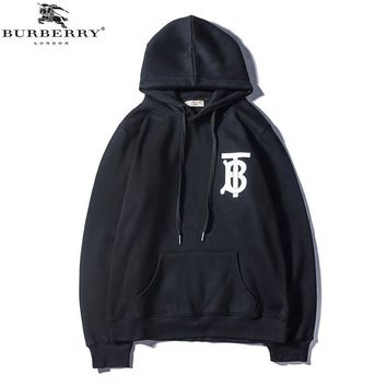 Burberry 2018 autumn and winter new tide brand letter print hooded drawstring sweater Black
