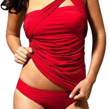 GTOW Women's Tankini Swimsuits Sexy One Shoulder Bikini Set Swim Bathing Suits 2pcs