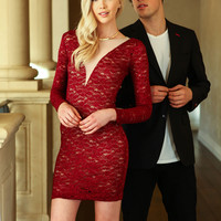 Red Glitter Plunge Lace Dress