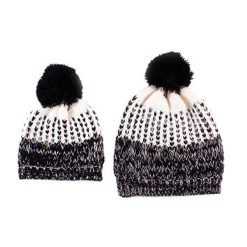 New 2Pcs 5 Colors Mother Baby Crochet Hats Toddler Kids Boys Girls Knitted Beanie Hat Children Adult Winter Warm Pompon Caps