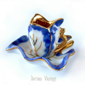 Miniature Porcelain Tea Cup and Saucer, Porcelain Doll House Accessory, Cobalt Blue and 24 K Gold