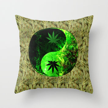Galactic Yin Yang Space Hemp Throw Pillow by Nate4D7