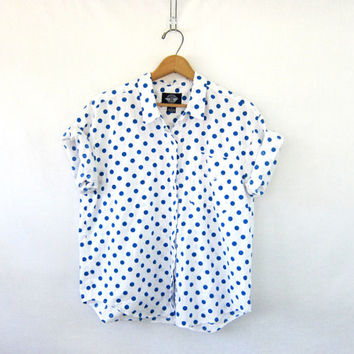 20% OFF SALE Vintage blue and white Shirt. cotton polka dot Tee Shirt. Button Up Tshirt.