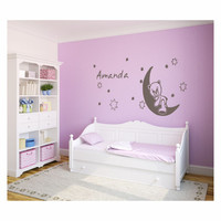 Bear on Moon and stars with kids name wall decal - removable vinyl wall art for kids room, playroom and nursery decor