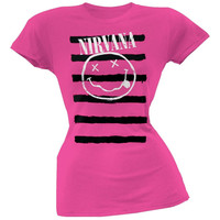 Nirvana - Smiley Striped Juniors T-Shirt