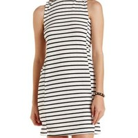 Black/White Striped Mock Neck Shift Dress by Charlotte Russe