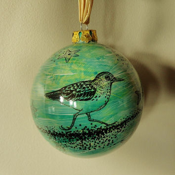 Coastal Birds Holiday Ornament Hand Painted Hand Drawn Ceramic