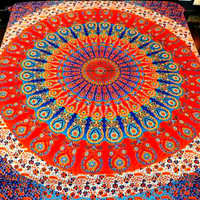 Willow Mandala Bohemian Boho Orange Wall Beach Bed Tapestry