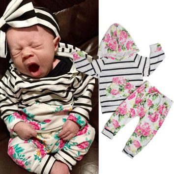 2016 Floral Baby Girl Clothes 2pcs Set Long Sleeve Hooded Striped Sweatshirt Top Flower Pant Outfit Clothing Bebek Giyim Suit